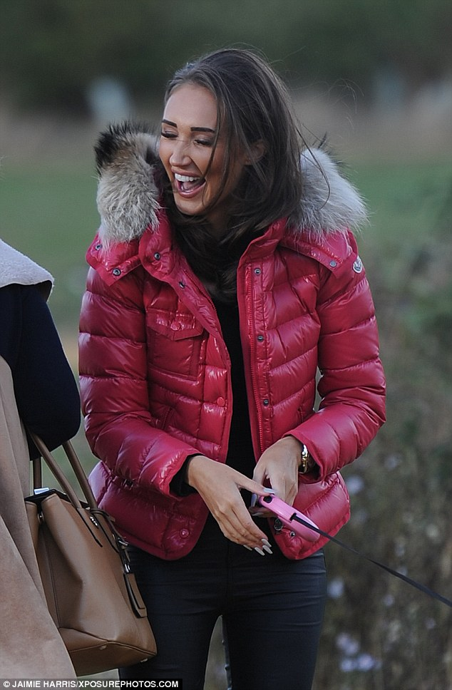 Brave face: Megan was seen on Monday filming new scenes back in her stomping ground of Essex with her mum, Tanya, after the explosive row with Pete in Marbella