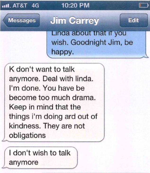 Carrey closed out the alleged break-up text by telling White she was 'too much drama'(texts above from court papers)
