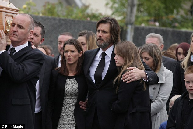 Morning: Burton previously claimed that despite reports to the contrary, Carrey 'never paid a dime' of White's funeral expenses (above with his daughter Jane)