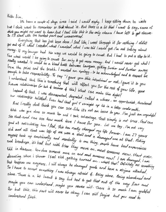 A handwritten note in which White said Carrey called her a 'whore' (letter above from court papers)