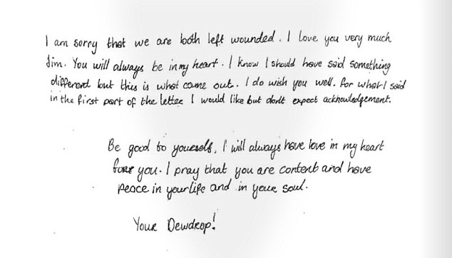 White still lovingly signed the letter to Carrey 'Your Dewdrop'(letter above from court papers)