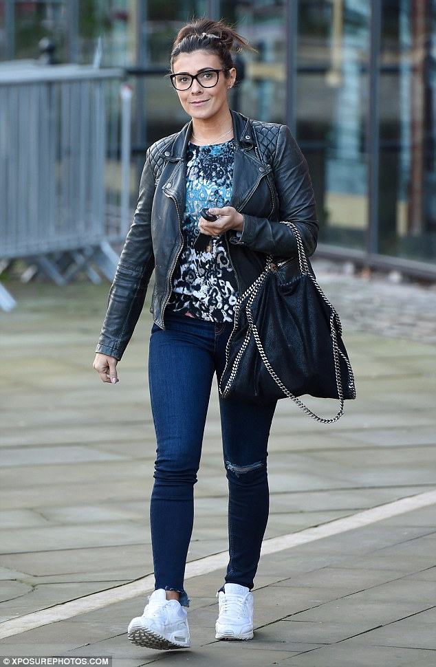 Laid-back lady: Kym Marsh, 40, cut a casual yet chic figure while leaving 103 Radio Station in Manchester on Monday, where she has been a guest presenter on the early morning show