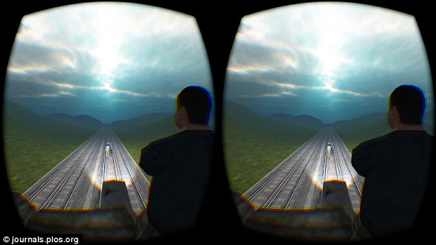 Participants were presented with a dilemma in virtual reality (pictured). They had to decide whether to push a person off a bridge in order to block a train from killing five people on the railway line below - and 70% gave a sacrificial response