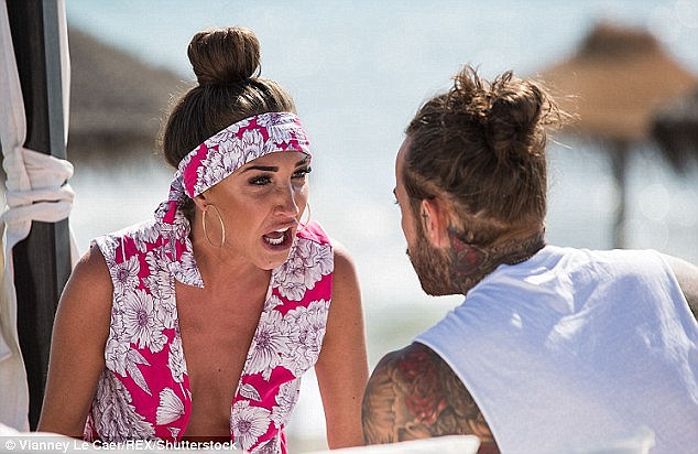 Guilt: In a preview for the forthcoming episode of TOWIE, Megan McKenna is seen to shake her Rolex watch gift from boyfriend Pete Wicks in his face