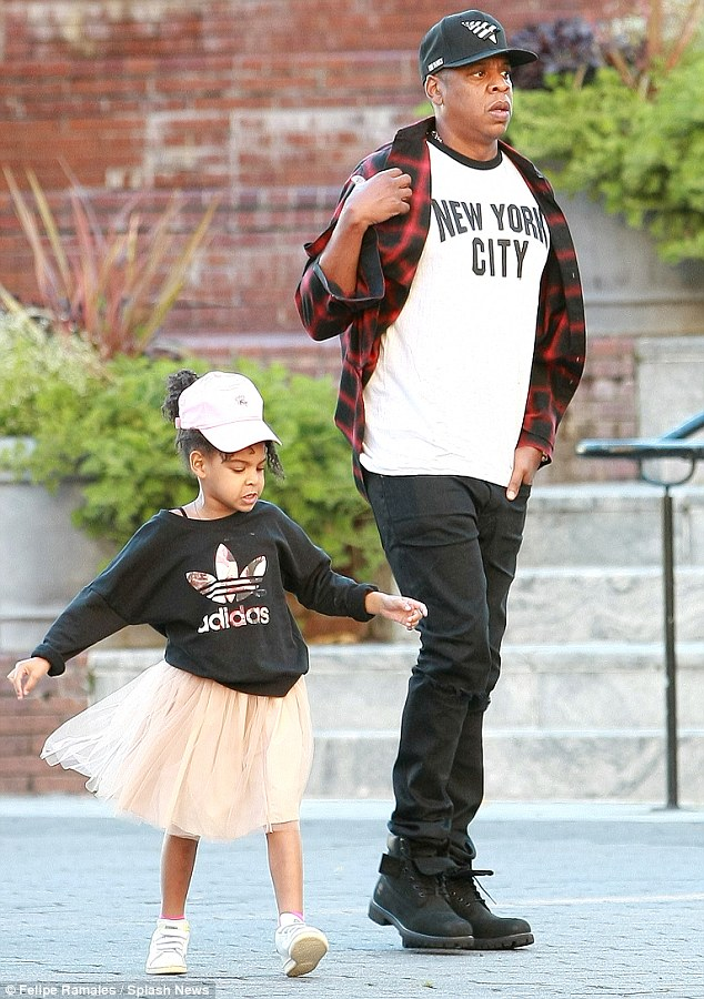 Daddy-daughter day: Jay Z took little Blue Ivy out for dinner in New York on Monday