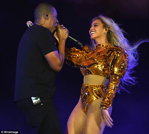 Surprise!: Beyonce brought her rapper husband out on stage for the final concert during her Formation World Tour in New Jersey on Friday