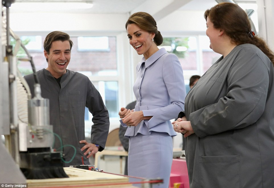 Kate's visit to the woodworking class marked the end of a busy day of engagement on her first solo trip abroad