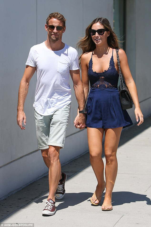 The happy couple: Jenson and Brittny are often seen looking loved-up