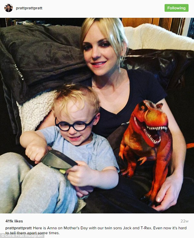 Growing fast: Pratt posted a snap of his boy Jack with Anna Faris earlier this year