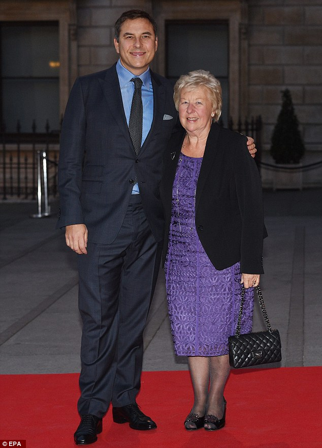Mother and son:Further celebrity arrivals at the bash included David Walliams who was joined by his beloved mother Kathleen, who looked dazzling in a lace purple dress