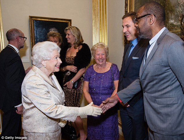 Social butterfly: Queen Elizabeth II was also seen greeting veteran comedian Lenny Henry