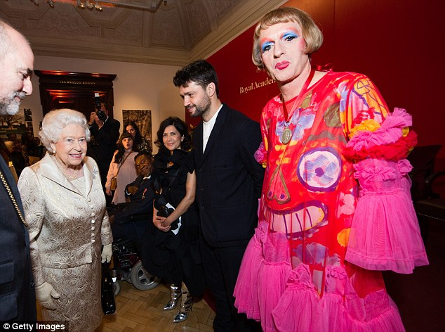 VIPs: (L-R)Farshid Moussavi, Conrad Shawcross and Grayson Perry were also on hand