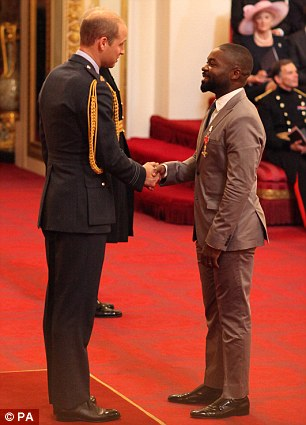 Top honour: Elsewhere British actor David Oyelowo was given an OBE for his services to drama
