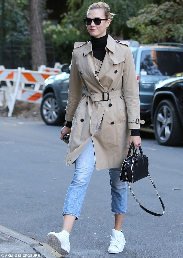 Low profile: Karlie Kloss went undercover as she stepped out in New York City on Tuesday