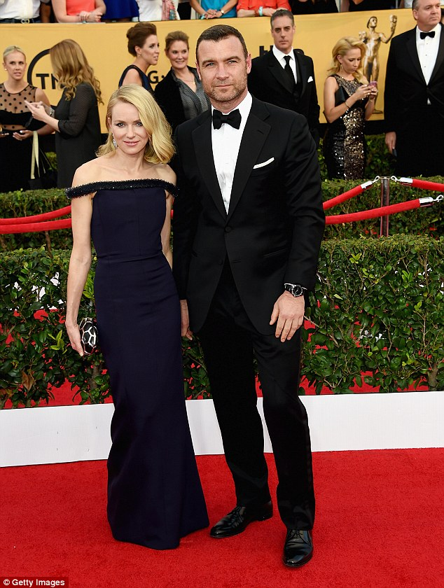 Former flames: Naomi and Liev released a joint statement last month after the split from an 11-year relationship; here they are seen at the SAG Awards in 2015