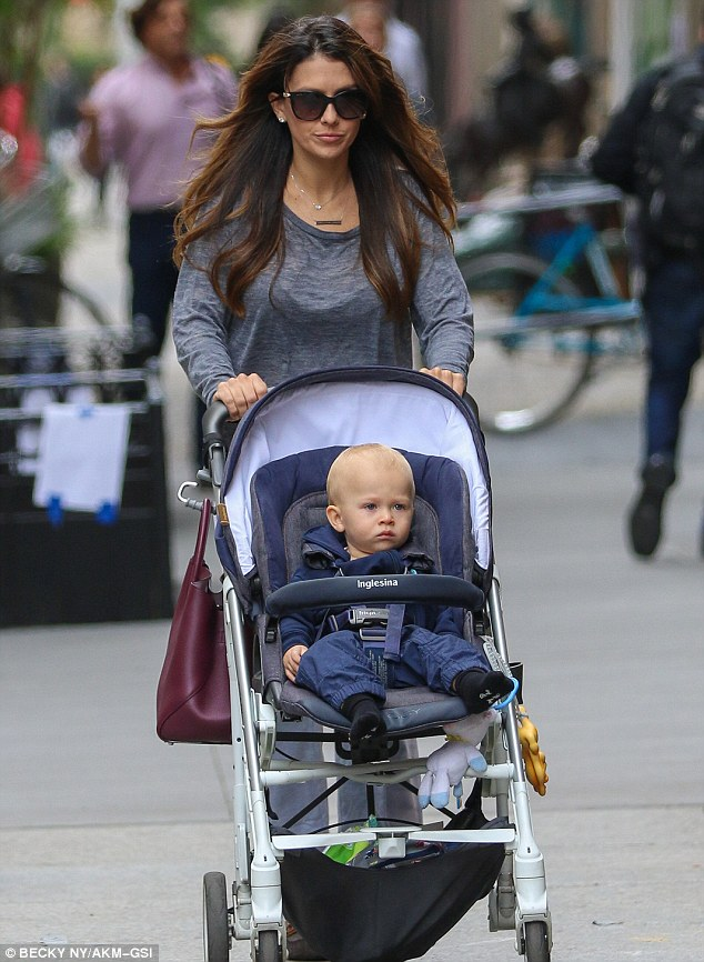 Out and about: The mother-of-three was pictured out in New York with one-year-old son Rafael last week