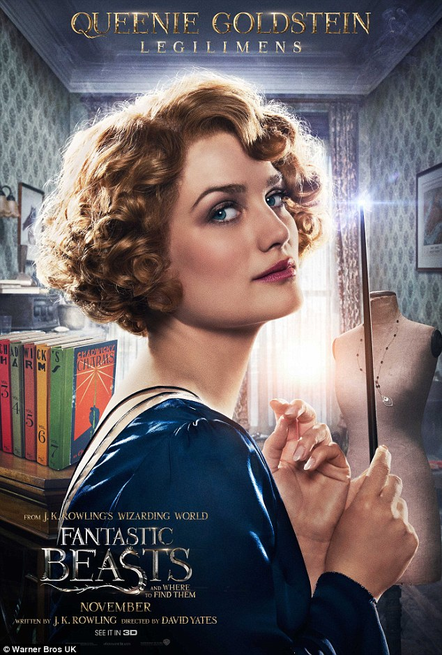 Stunning: There's no shortage of vintage glamour either, with Alison Sudol looking stunning with bouncy curls and piercing blue eyes
