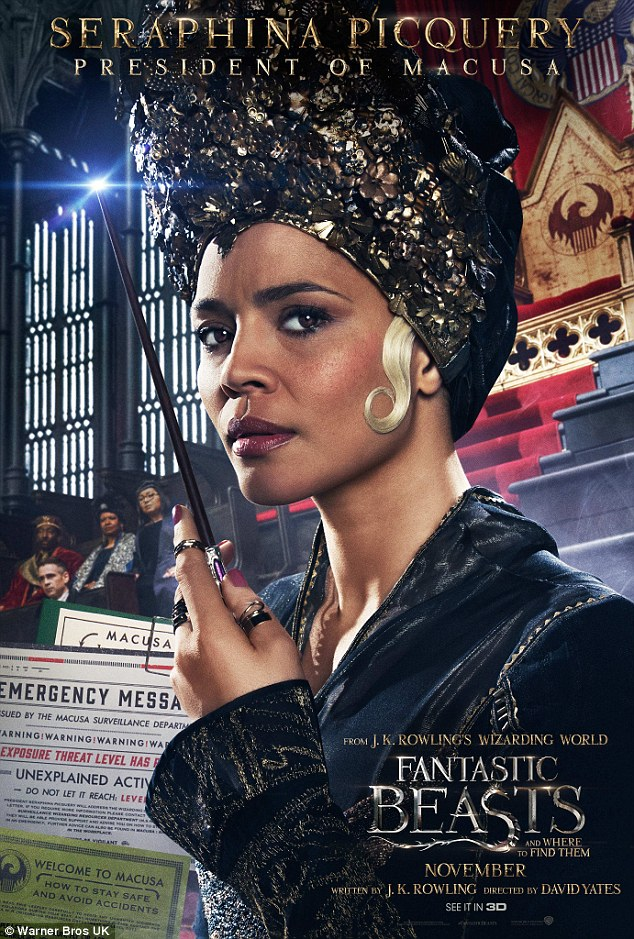 Striking: Carmen Ejogo, 42, as Seraphina Picquery, wears an elaborate headpiece and lavish robes in her shot, with a solitary blonde curl resting against her cheek