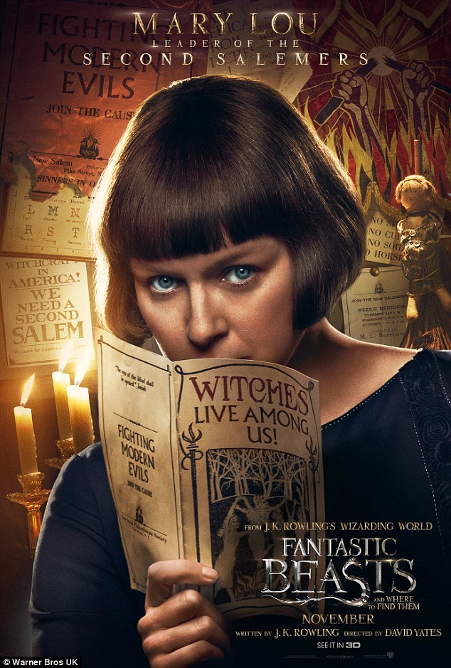 Focused: Samantha Morton peeped over a 'witches' leaflet sporting a brown bob
