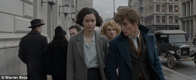 Bad move: Newt, seen with Katherine Waterston as Porpentina 'Tina' Goldstein, angers the local wizarding community after unleashing the dangerous creatures