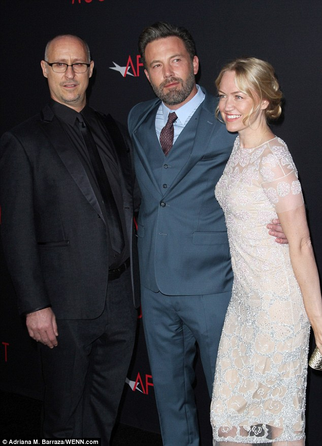 Center-of-attention: Ben was joined by O'Connor and producer Lynette Howell Taylor at the premiere of The Accountant in Hollywood Monday
