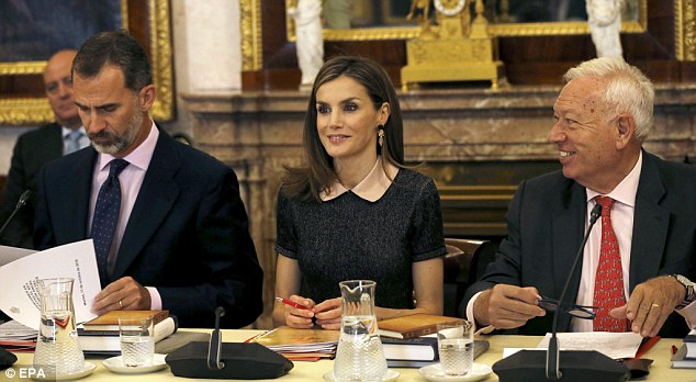 King Felipe VI (L), Queen Letizia (C) and Spanish acting Foreign Minister Jose Manuel Garcia-Margallo attended the annual meeting of the Cervantes Institute Patronage held at the Royal Palace of Aranjuez on the outskirts of Madrid