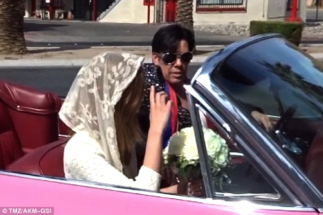 Arriving: She arrived with Elvis at the wheel of her wedding car