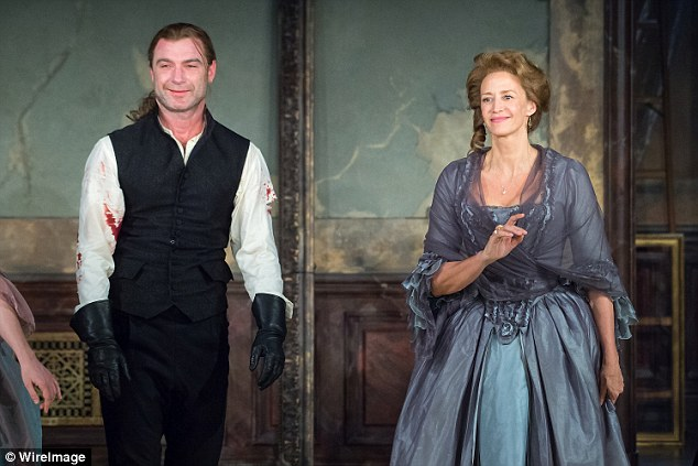 Historical: The actor, who is undertaking the role of Le Vicomte de Valmont sported a long ponytail, while his loose-sleeved shirt under his waistcoat was smeared in blood