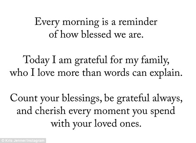 'Count your blessings':The 60-year-old momagertook to social media on Monday and posted a sombre quote