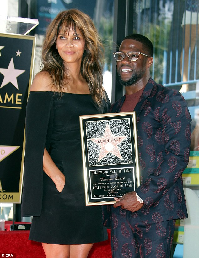 Supportive pal: Halle posed for photos as she turned out for Kevin's Walk Of Fame ceremony