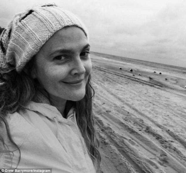 Bare babe: Drew Barrymore went makeup free for this selfie on Sunday