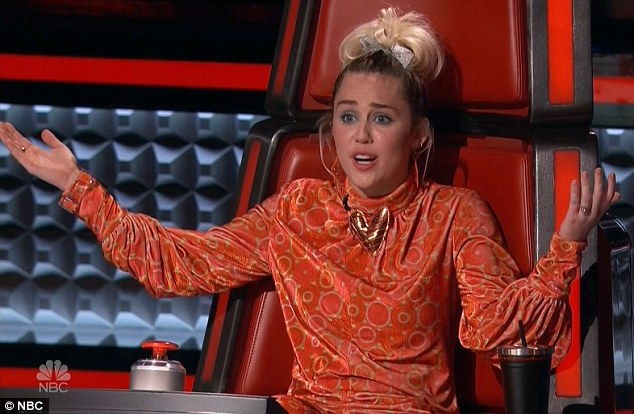 Talent thief: Miley Cyrus stole talented singer Lauren Diaz from Adam Levine on Monday's episode of The Voice