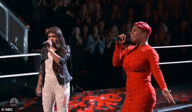 Powerful voices: Courtnie Ramirez and Ali Caldwell nailed their duet of Hit Or Miss