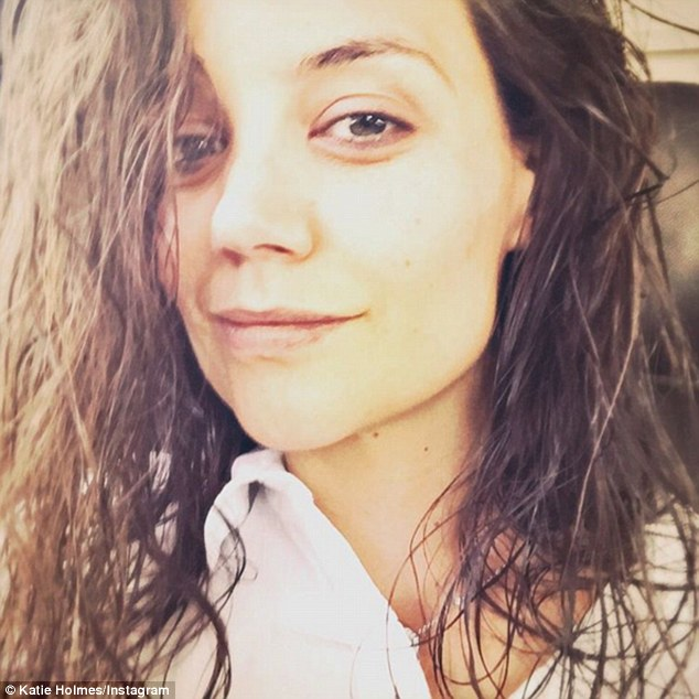 Natural: Katie Holmes pared back on Sunday as she showed off her flawless barefaced beauty in a make-up free photo