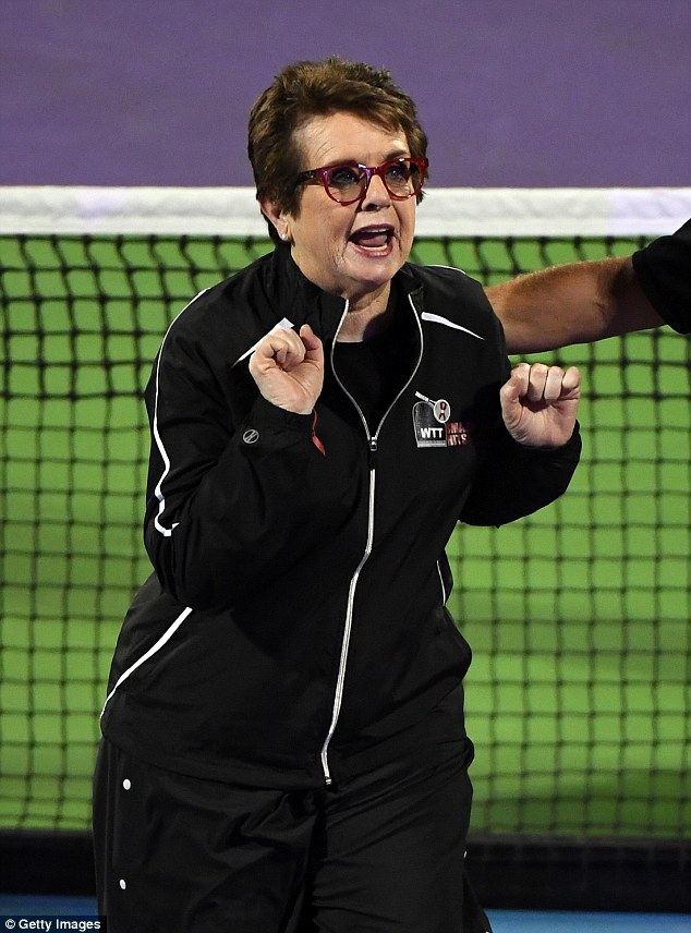 In his corner:Former tennis player Billie Jean King looked like she was on cheerleading duty