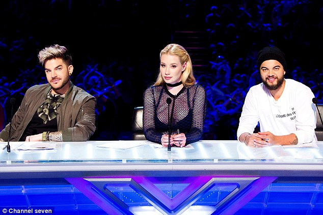 New recruits: Iggy joined the TV talent show's judging panel alongside Adam Lambert (L) and Guy Sebastian (R) earlier this year