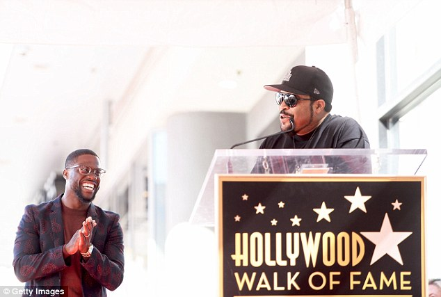 What's so funny? The actor was awarded the 2,591st star following an introduction by rapper and actor Ice Cube