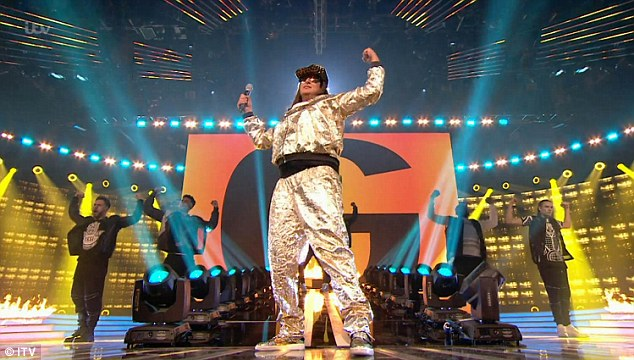 Success: Wannabe rapper, 35, Honey G closed the first live show with a rendition of Tupac's California Love which Simon Cowell admitted he 'loved'