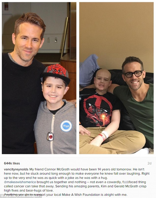 Birthday tribute: Ryan Reynolds took to social media to remember a late Deadpool fan on what would have been his 14th birthday