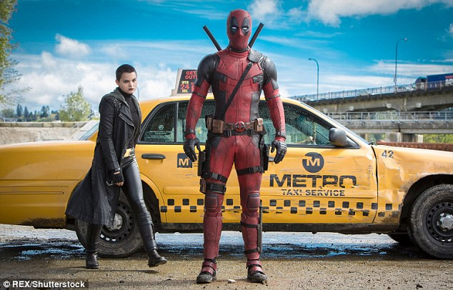 Record breaker: Brianna Hildebrand and Ryan are shown in a still from Deadpool that earned $786.2 million at the international box office and became the highest-grossing R-rated movie
