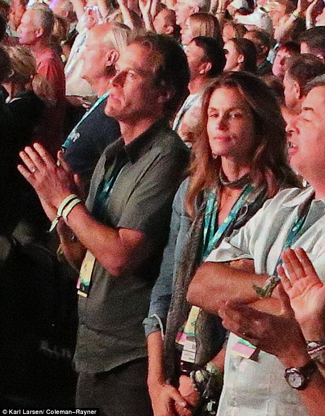 Front and center: The couple had great seats at the event, dubbedOldchella, riffing off the Coachella extravaganza that takes place at the Empire Polo Club grounds in spring