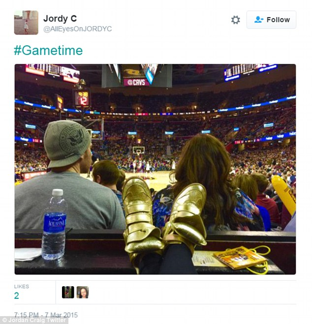 """'Gametime"""" Jordyn shared this tweet of herself watching Tristan play back in March last year"""
