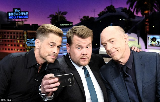 Trio: Rob Lowe and JK Simmons chat with James  during an episode of The Late Late Show