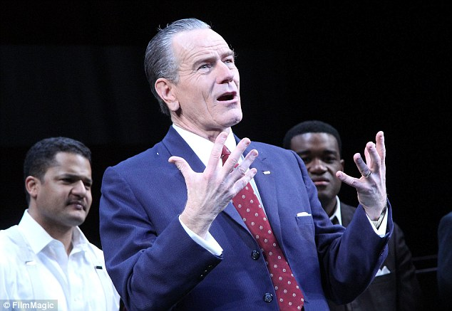 Following his role on Breaking Bad, Cranstonlayed Lyndon B Johnson, the 36th president of the United States, in a play All the Way on Broadway (pictured above on opening night)