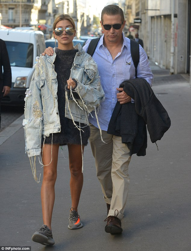 Bonding: Hailey was seen strolling in Paris with her dad actor Stephen Baldwin on Tuesday