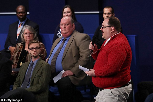 The undecided voter, wearing a red cable-knit sweater and glasses, changed the pace of the debate by asking a question that had nothing to do with lewd comments or private email servers. He quickly won viewers as a result