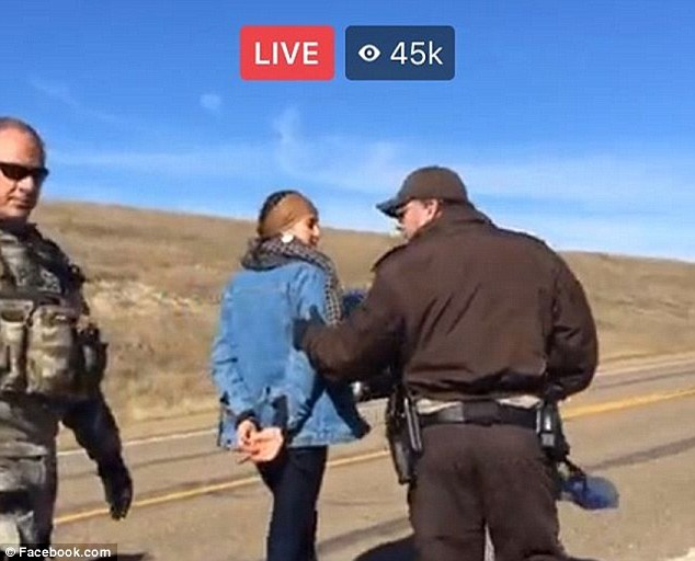 Under arrest: Shailene Woodley was arrested for trespassing while protesting the Dakota Access Pipeline on Monday morning