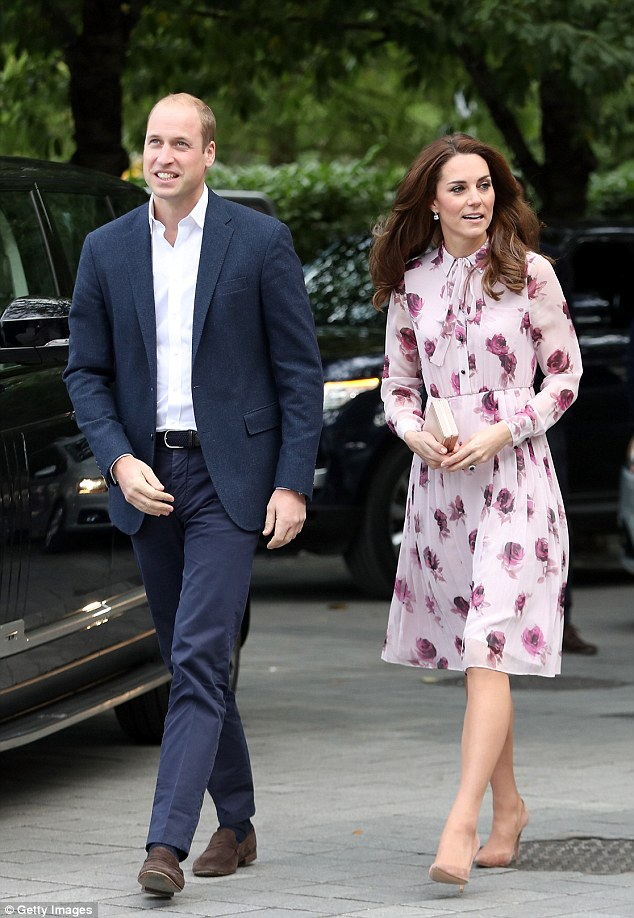 Prince William is said to have enlisted the help of the Duchess of Cambridge's stylist to freshen up his wardrobe. Pictured: The duke and duchess during their engagement today