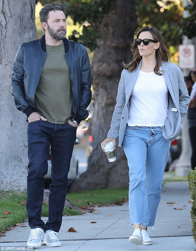 Amicable exes: The pair were seen walking home side-by-side after bidding farewell to their brood