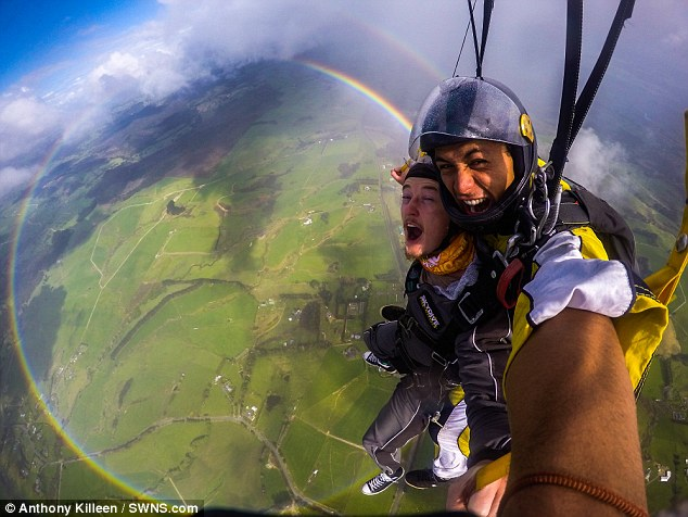 AdventuringAnthony Killeen captured the incredibly rare sight of a stunning circular rainbow as he was skydiving. Ordinarily only half of a rainbow is visible from ground level. He described the lucky sighting as 'amazing'
